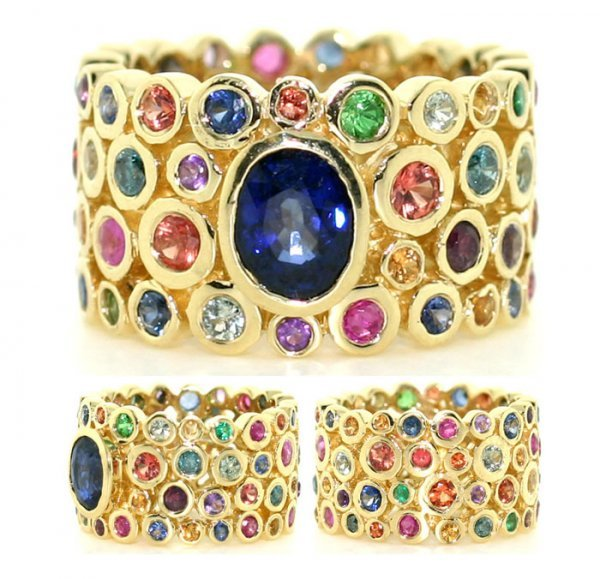4089: 8 Ct Blue Diamond And Multi Color Gem 18K Ring