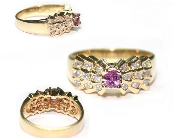 1012: 1 CT  DIA & RUBY RING  14K