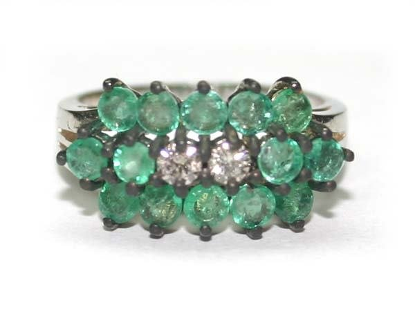1014: 2.5 CT DIA & EMERALD  14K W/G RING