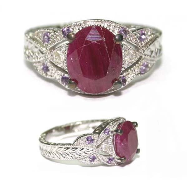 1016: 3.5 CT DIA & RUBY & AMETH RING