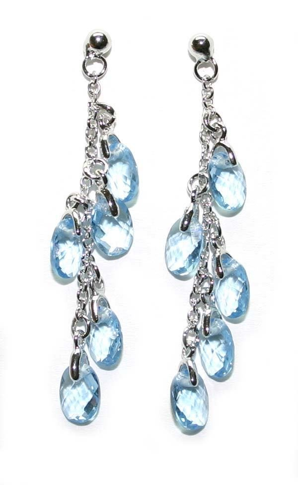 4069: 9.CT NATURAL B.TOPAZ SILVER EARRINGS .