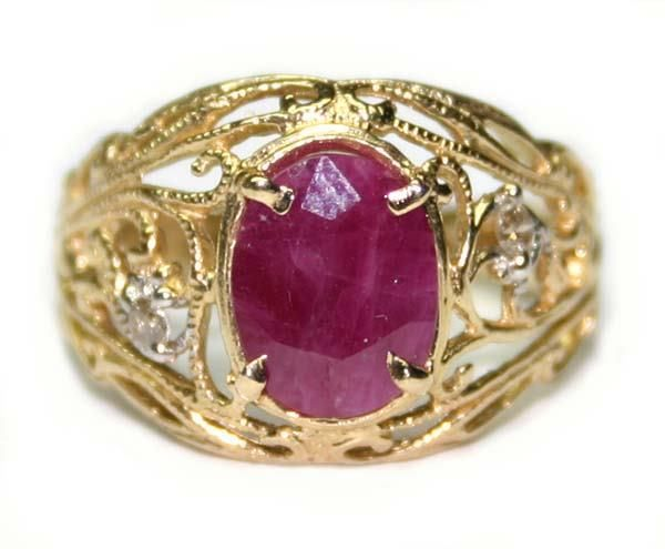 1010: 2.50 CT NATURAL DIA & RUBY 14K /G RING.