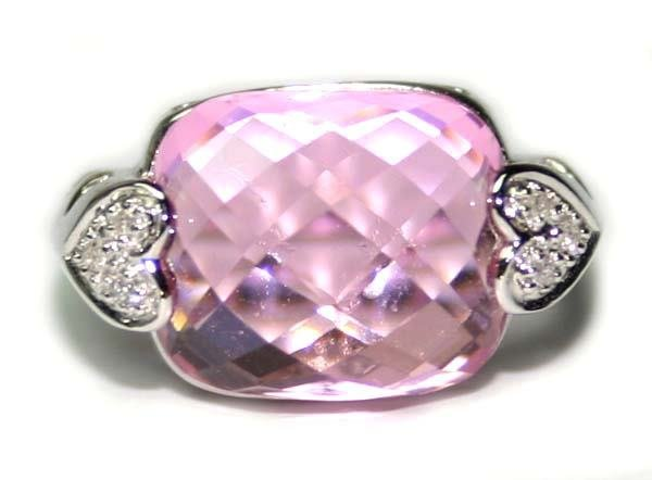 3000: 25.CT NATURAL  PINK  RHODOLITE   & DIA  GOLD RING