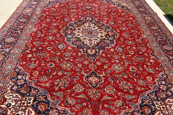 3322: OLD PERSIAN KASHAN RUG 13x9 F