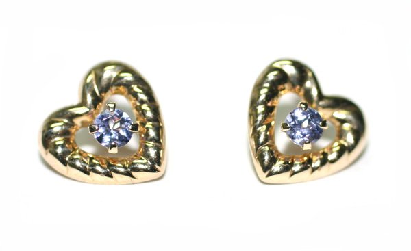 3620: BEAUTIFUL HEART SHAPE TANZANITE EARRINGS