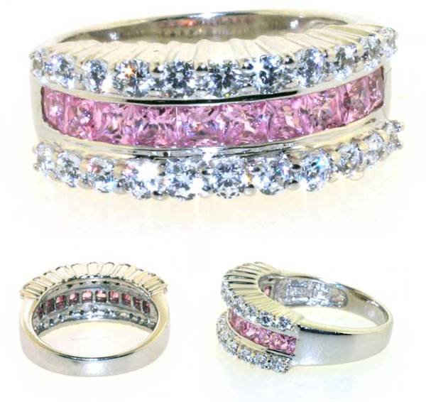 3024: 3 CT LAB WHITE AND PINK SAPP SILVER RING.
