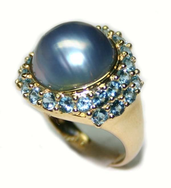 1000: 1.5 CT B.TOPAZ & PEARL 14K RING.