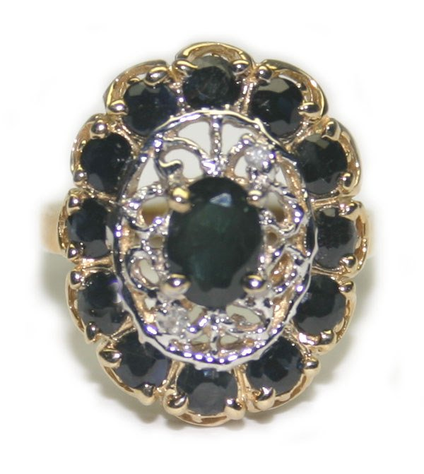 1004: 3.50CT SAPPH & DIA  7GR 14K GOLD RING.