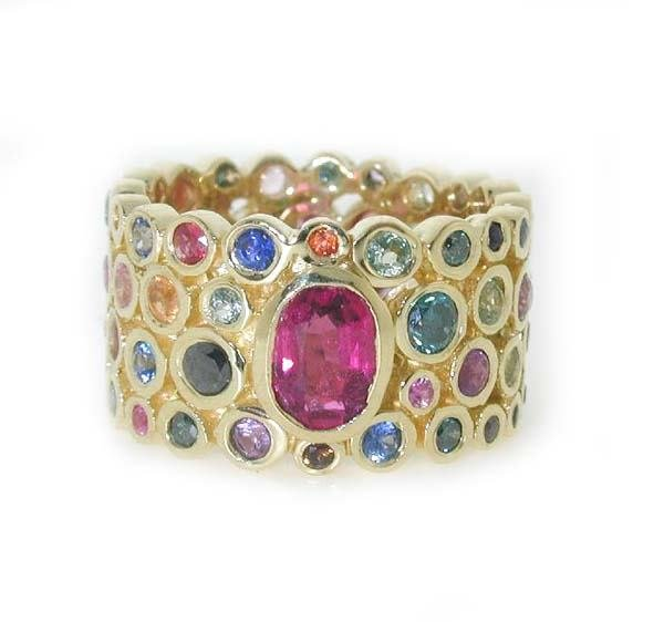 1539: 8 CT MULTI COLOR GEM 18K 12 GR