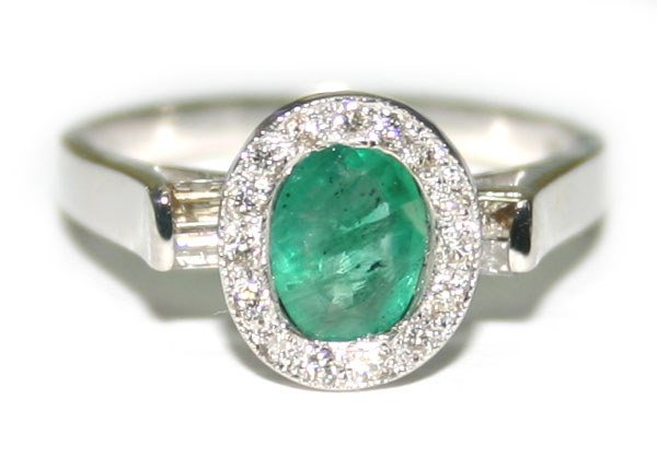 2008: 1.50 CT DIA & EMERALD 14K W/G RING.