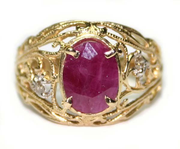 5487: 2.50 CT NATURAL DIA & RUBY 14K /G RING.