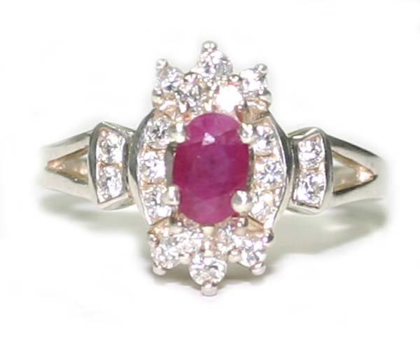 179: 1.50CT RUBY & LAB SAPPH  SILVER  RING.