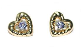 1736 BEAUTIFUL HEART SHAPE TANZANITE EARRINGS