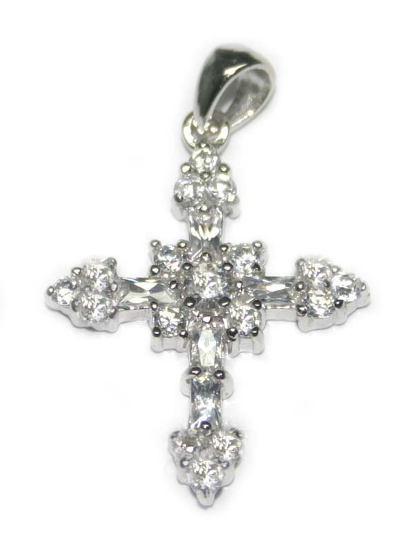 3012: 2.CT LAB W.SAPPHIRE  SILVER CROSS  PENDENT 1x08 I