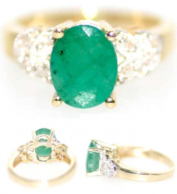 5008: 3 CT DIA AND EMERALD 14K 5GR