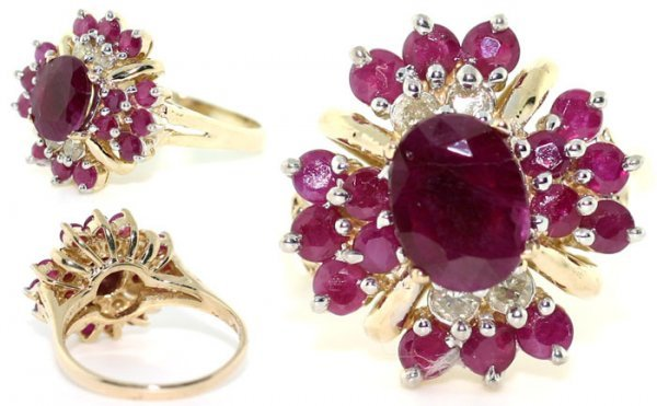 5011: 3 CT DIAMOND AND RUBY 14K RING