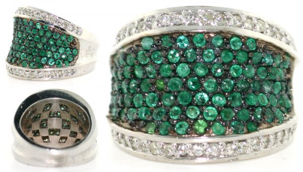 4449: 4 CT DIA AND EMERALD 14K 16 GR