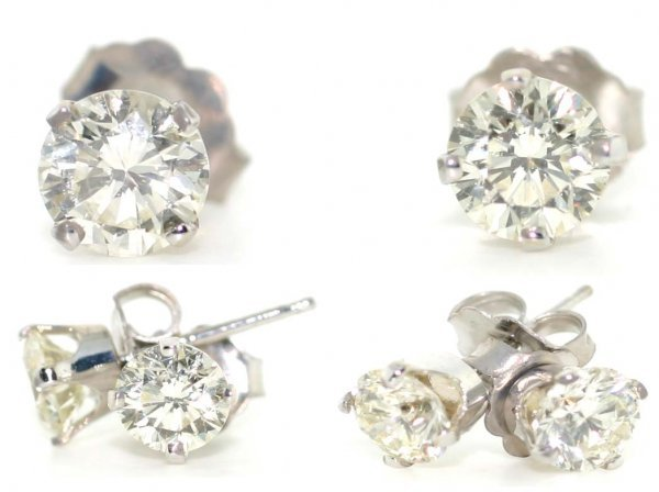 1588: 2 CT DIAMOND STUD EARRINGS