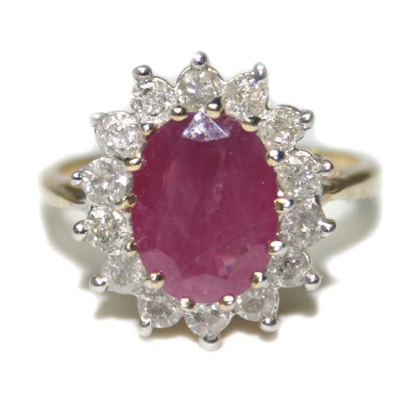 2012: 4.CT DIA & RUBY 14K  Y/G RING.