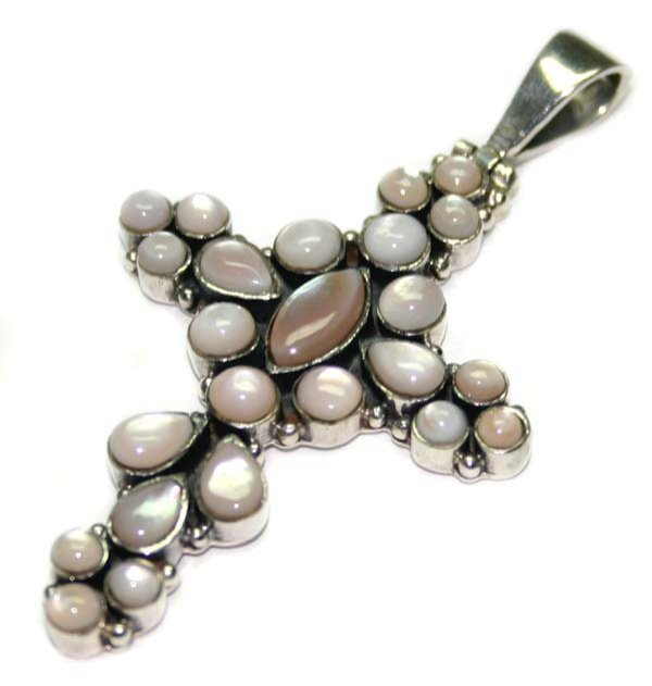 2013: MODEL OF  PEARL  SILVER  CROSS  PENDENT .