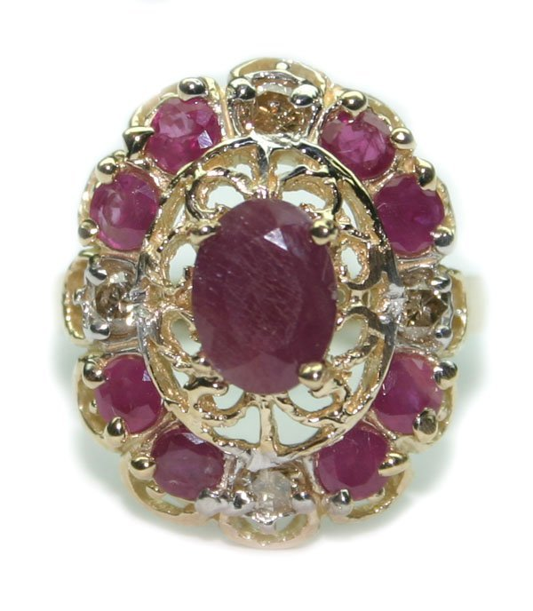 2019: 2.75CT DIA & RUBY  6.30 GR 14K GOLD RING .