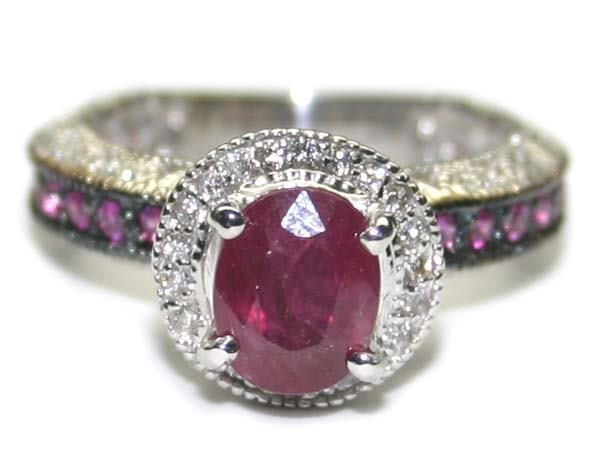 4026: 2.CT DIA & RUBY  6.45 GR 14K GOLD RING .