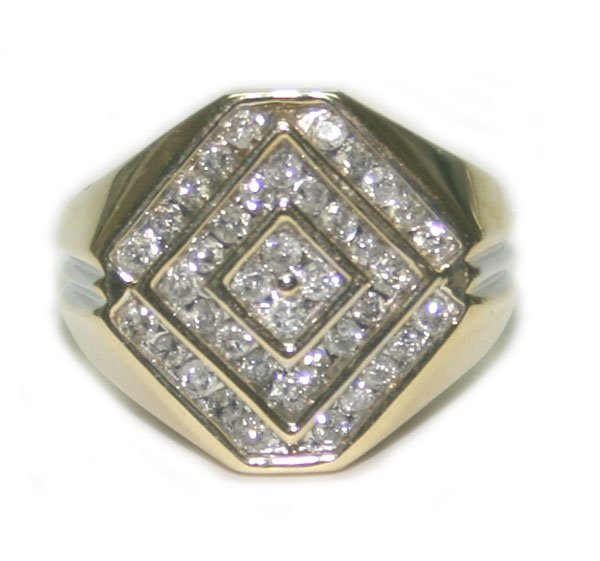 5006: 2.50 CT  DIAMOND 7.45  GR 10 K  GOLD  MEN'S   RIN