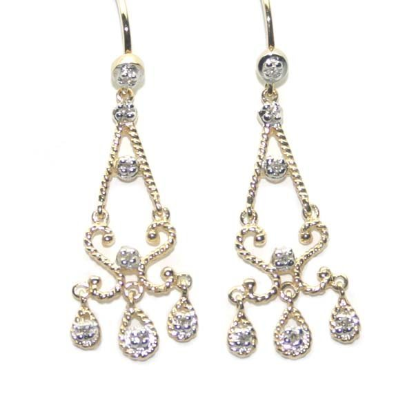 5009: 0.10 CT DIA CHANDELIER  EARRINGS 14K GOLD .