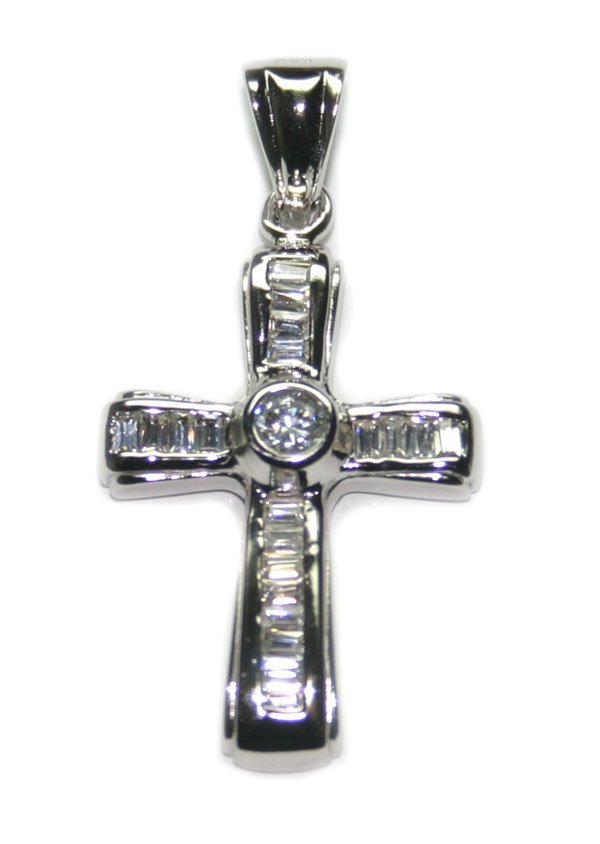 5019: 2.CT LAB  SAPPH SILVER  CROSS PENDANT 1.5 INCH.