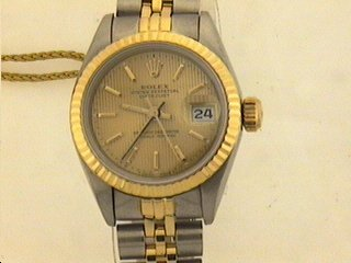 1295: 18K/STAINLESS STEAL ROLEX DATE JUST WATCH .
