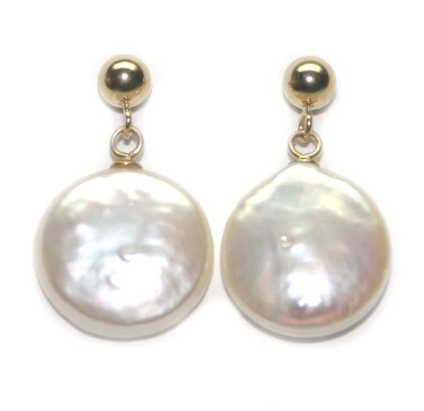3010: 13 MM NATURAL PEARL  14K GOLD EARRINGS .