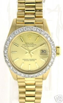 3023: LADIES YELLOW GOLD PRESIDENT WATCH .