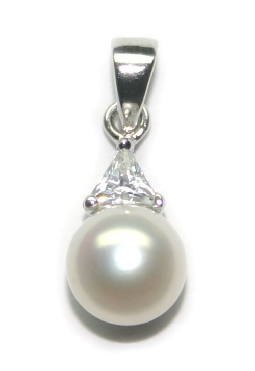 4010: SILVER PENDANT WITH  LAB  SAPP & PEARL .