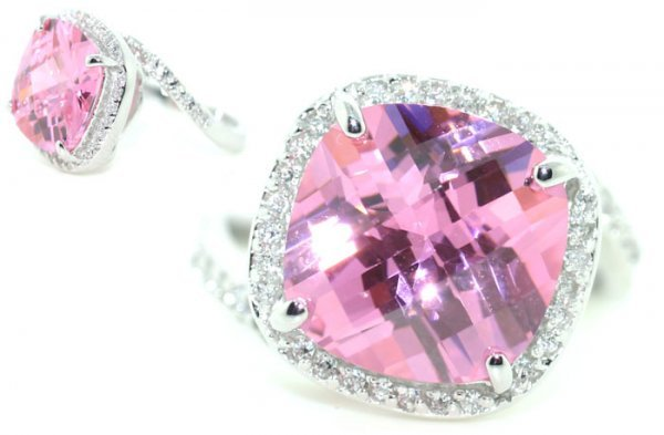 2019: 8 CT LAB WHITE AND PINK SAPP SILV