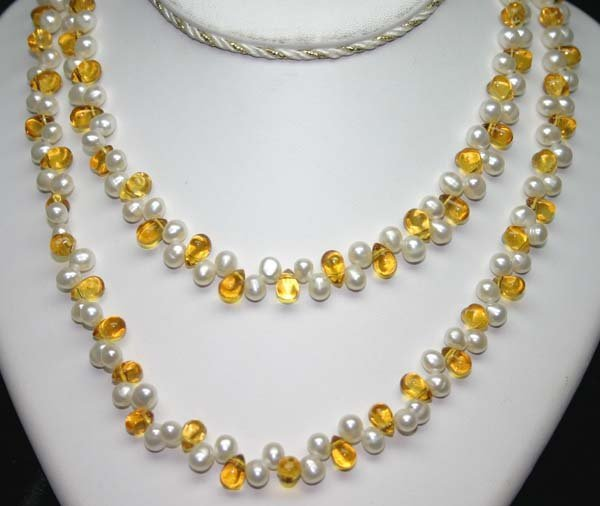 3018: 40 INCHS  7mm PEARLS &  LAB CITRIN   NECKLACE.