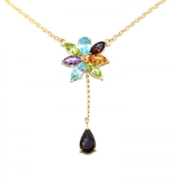 4002: 3 CT MULTI COLOR GEM 14K