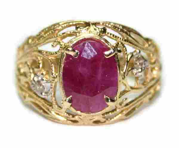 3021: 2.50 CT NATURAL DIA & RUBY 14K /G RING.