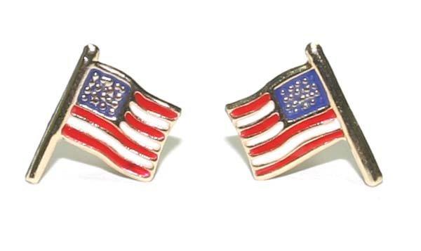 4021: 14K GOLD AMERICAN  FLAG  EARRINGS.
