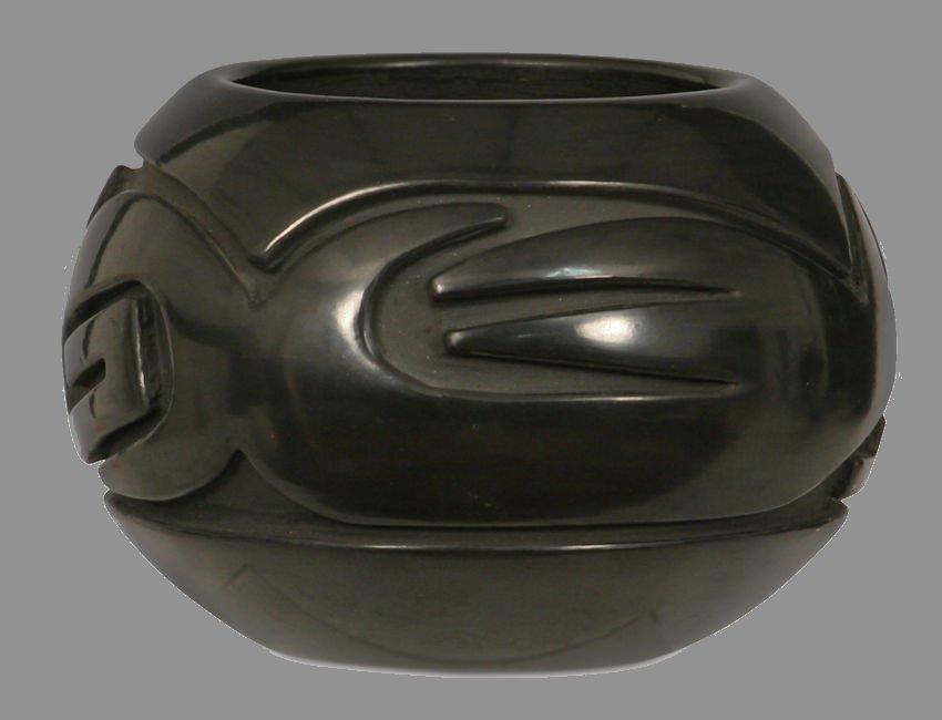 Santa Clara Pueblo Carved Black Pot.