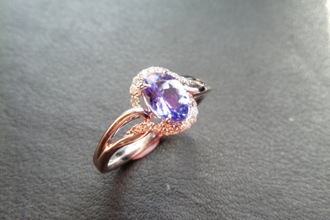 9ct white gold tanzanite and diamond dress ring set