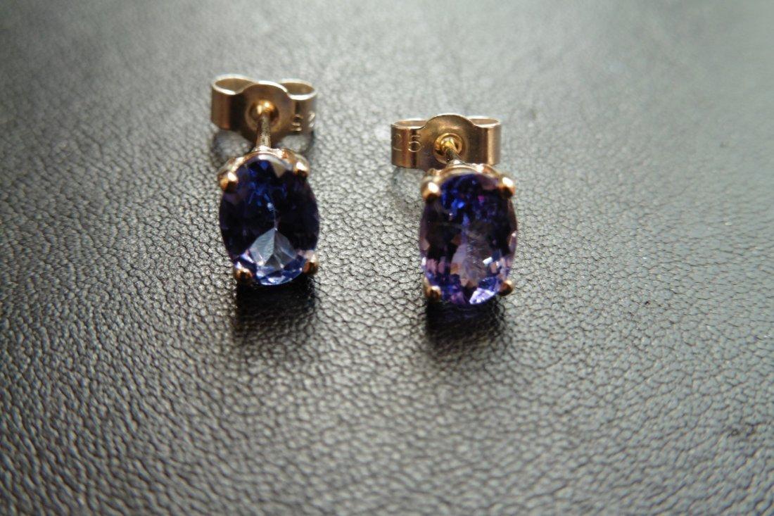 9ct gold tanzanite stud style earrings