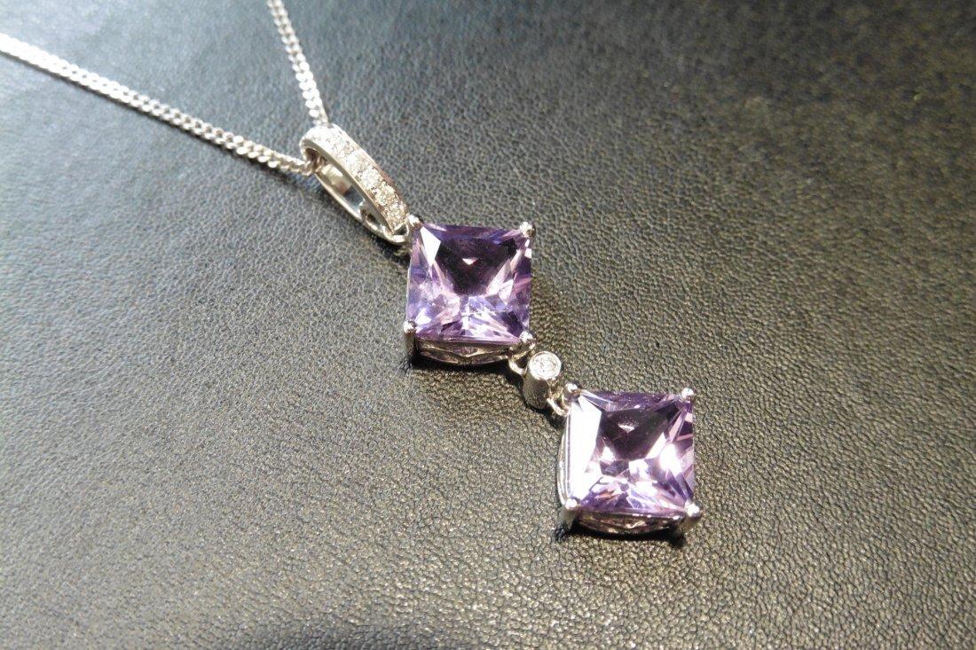9ct white gold amethyst and diamond pendant