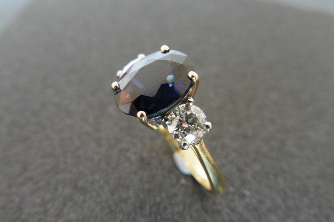 18ct gold sapphire and diamond three stone ring