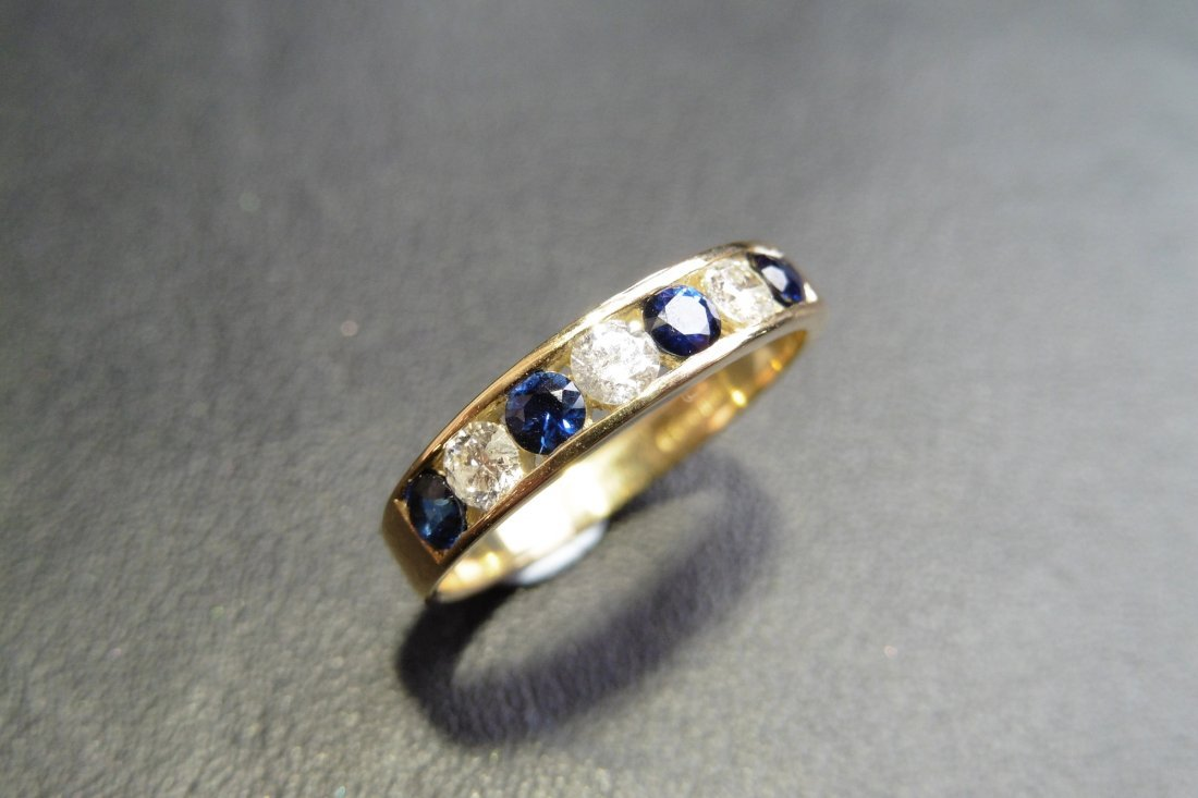 9ct gold sapphire and diamond eternity ring