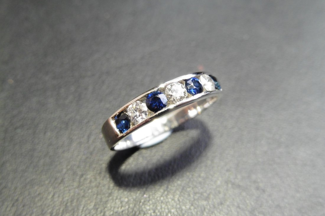 9ct white gold sapphire and diamond eternity ring