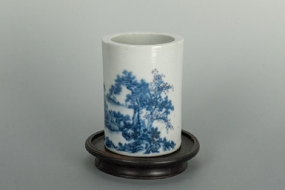 Blue and White Mountain Brush Pot