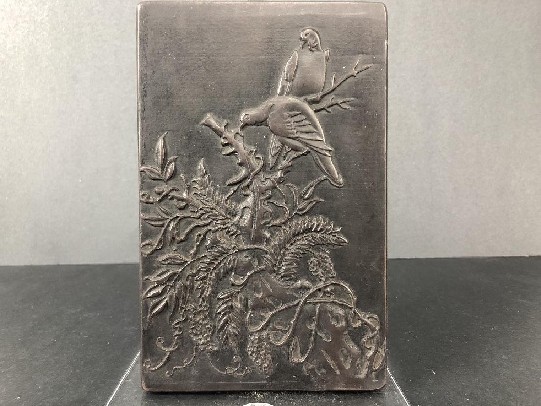 19th Century, a stone cover inkstone with carved Birds
