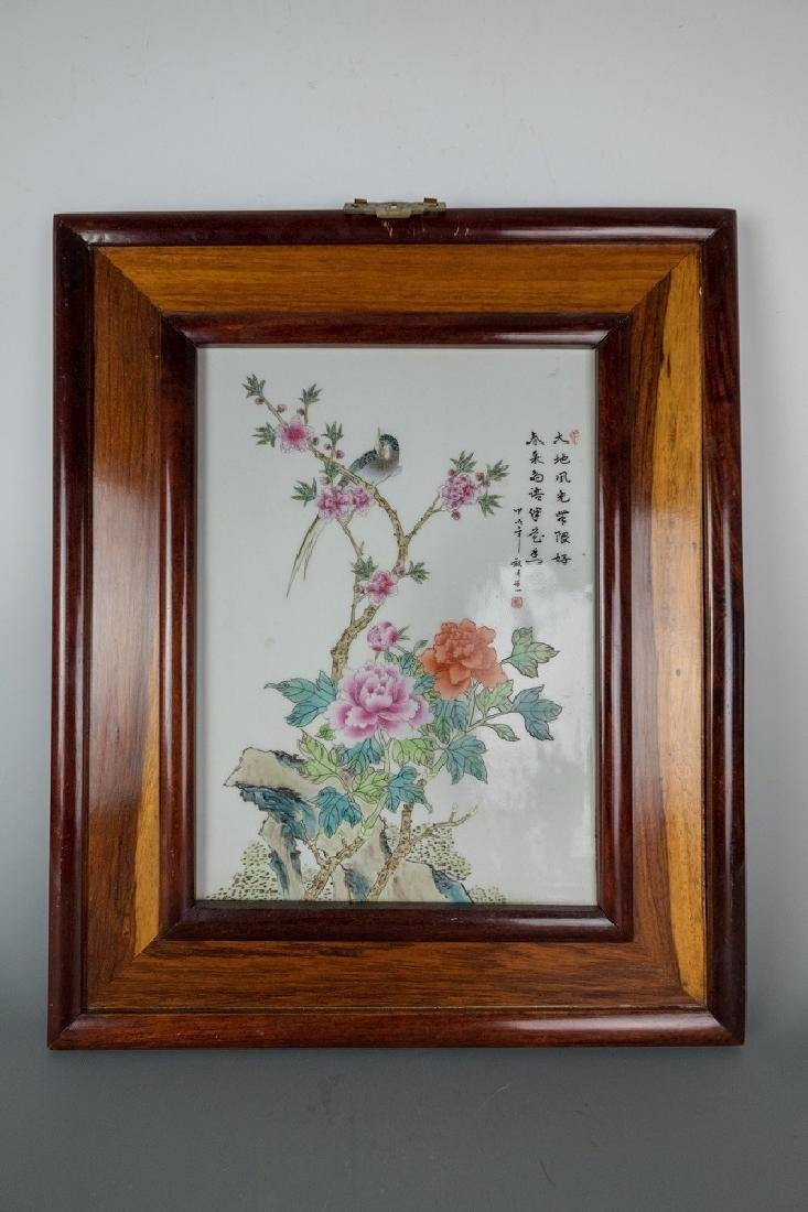 20th Century Period Flower and Bird Porcelain Plaques