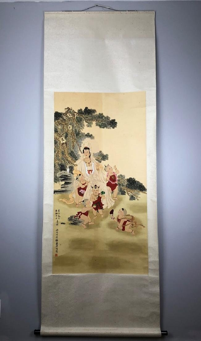 Mei Lanfang Seal ink and color on silk hanging scroll.