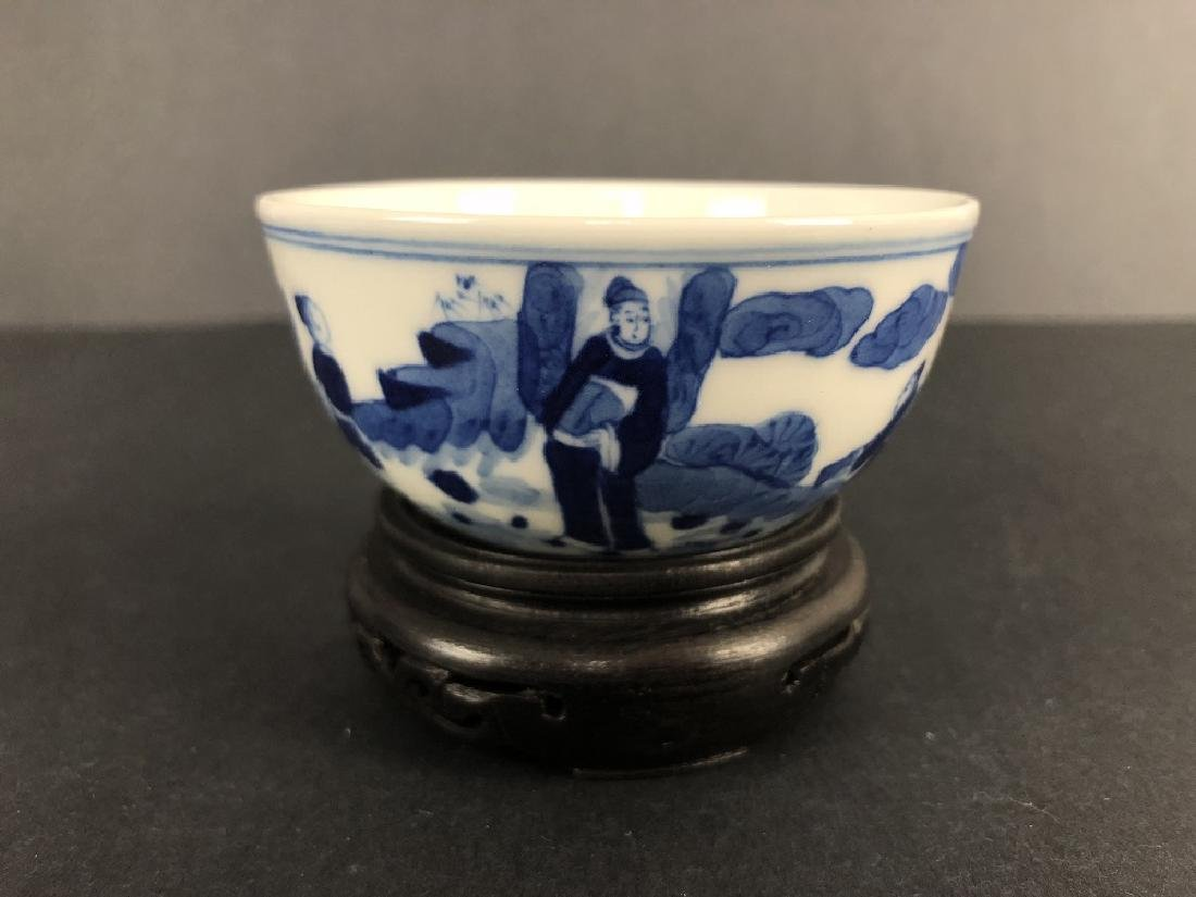 Qing Dynasty, a pair of blue and white bowls with